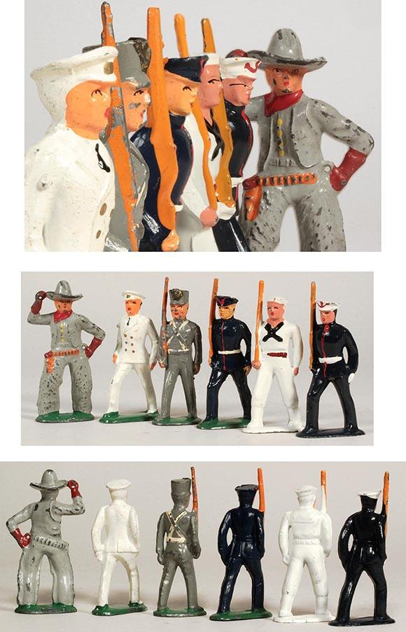 c.1935 Sailors, Marines, Cadet, and Cowboy Cast Metal Soldiers