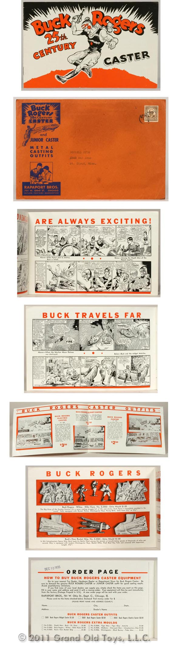 1935 Buck Rogers Caster Catalogs with Original Illustrated Envelope