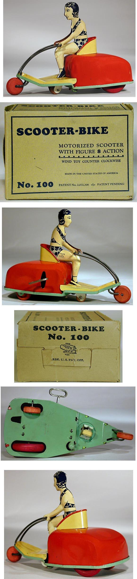 1937 Buffalo Toy & Tool Works, Scooter-Bike (Bathing Beauty) in Original Box