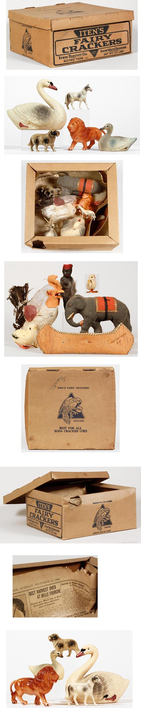 1920's Celluloid & Feathered Critters in Biscuit Box