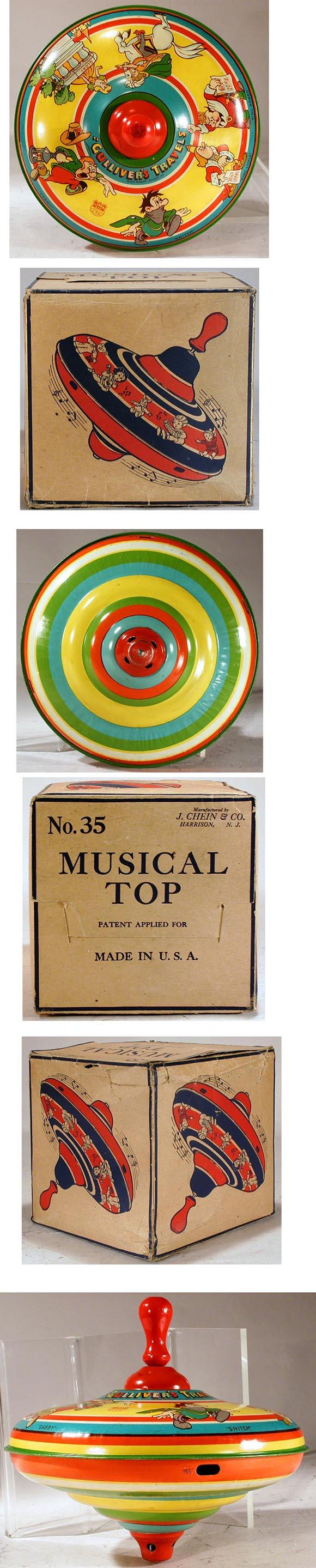 c.1939 Chein, No.35 Gulliver's Travels Musical Top in Original Box