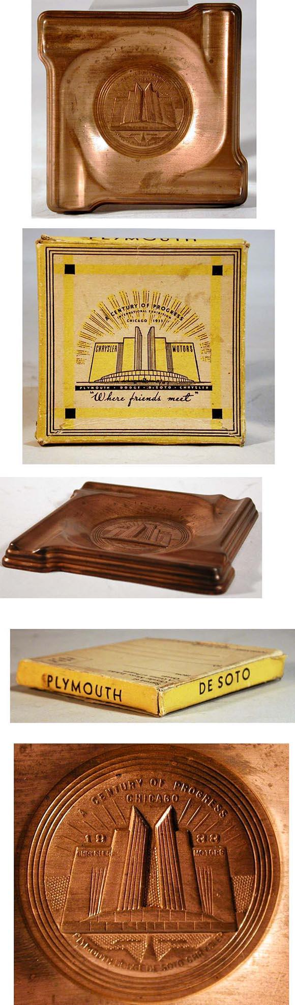 1933 Chicago World Fair Chrysler Copper Ash Tray in Original Box