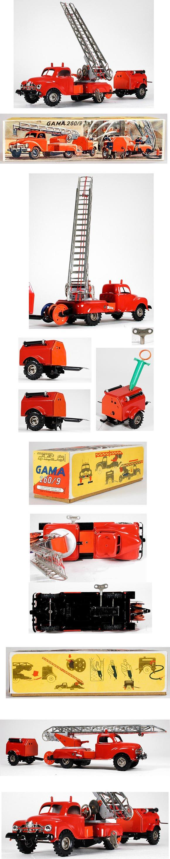 c.1946 GAMA, No.260/9 Fire Truck with Water Pumper in Original Box