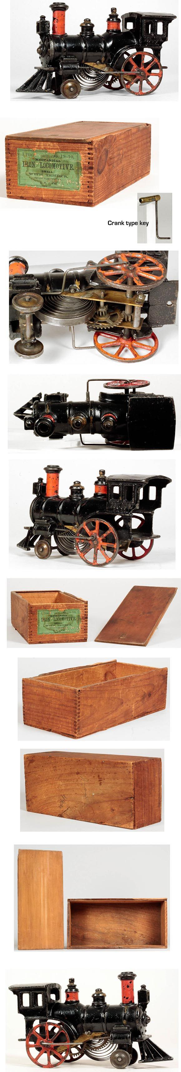 c.1884 Ives, CI Clockwork Locomotive in Original Wooden Box