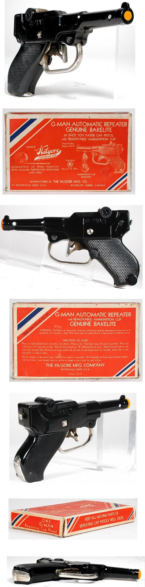 c.1938 Kilgore, Bakelite G-Man Automatic Repeater Pistol in Original Box