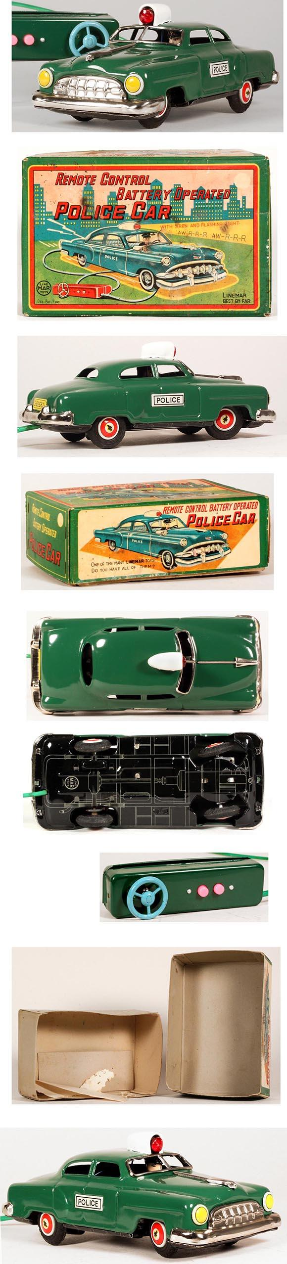 1954 Linemar, Battery Operated Chevrolet Police Car in Original Box