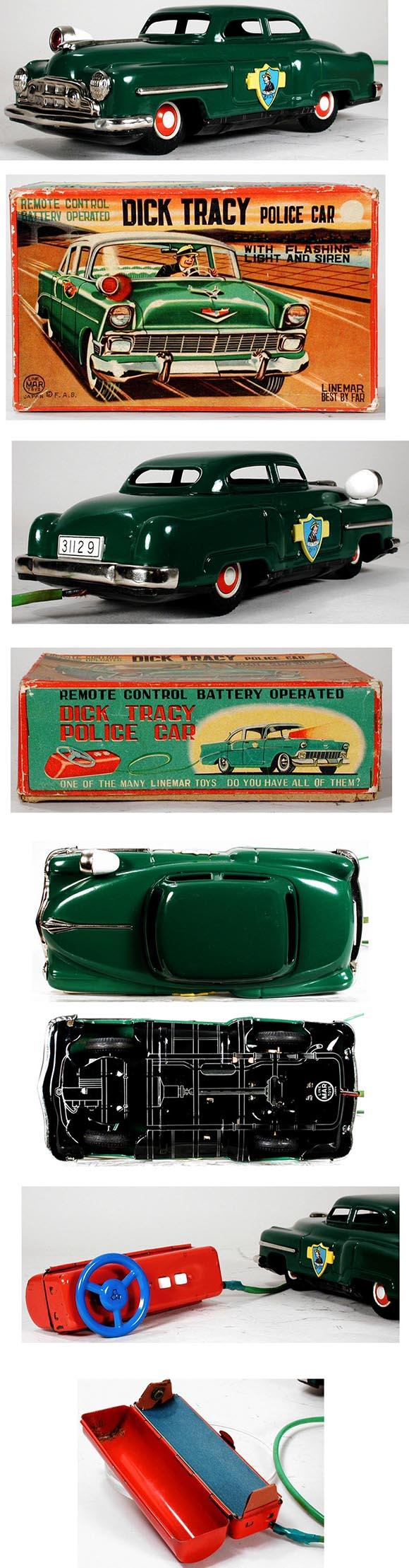 1956 Linemar, Dick Tracy Battery Operated Police Car in Original Box