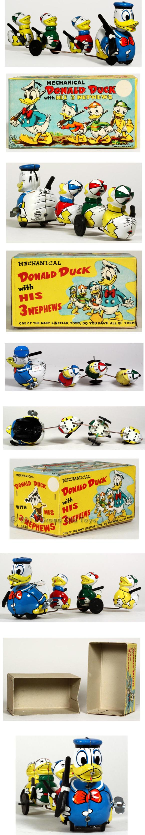 1956 Linemar Donald Duck Nephews with Rifles In Original Box