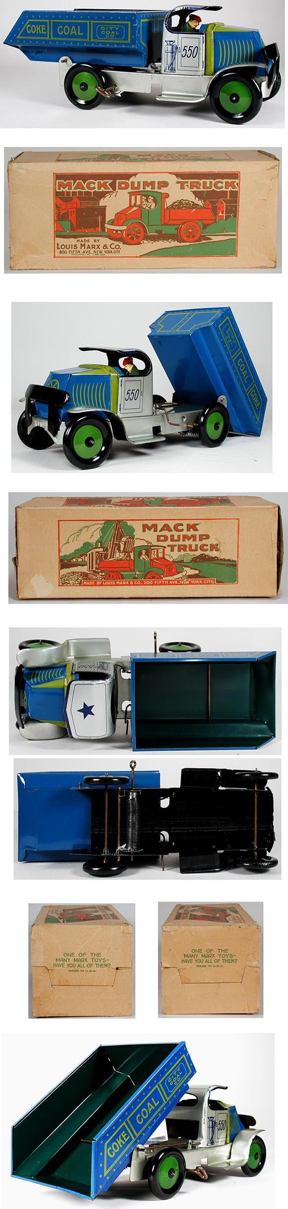 1936 Marx, #550 City Coal Company Mack Dump Truck in Original Box