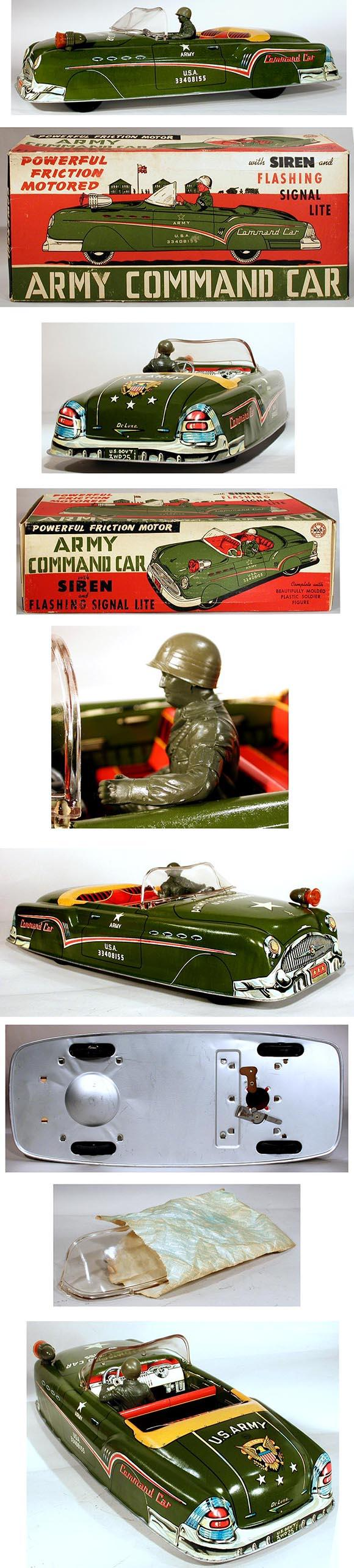 1957 Marx, Army Command Car with Siren & Flashing Signal Light in Original Box