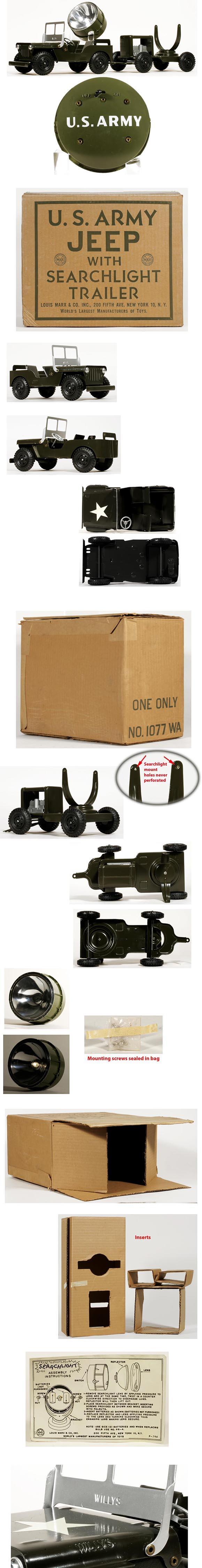 1957 Marx US Army Jeep & Searchlight Trailer in Original Box