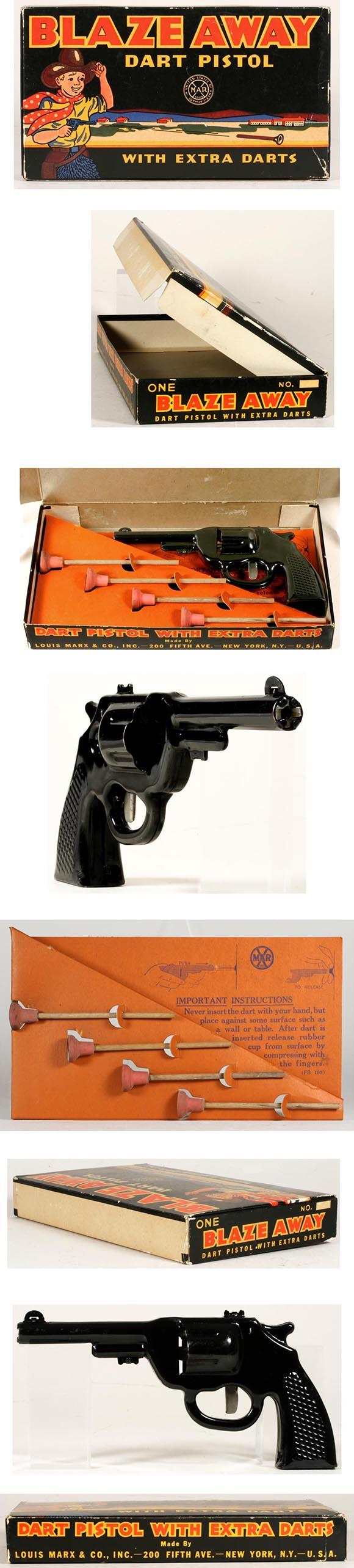 c.1949 Marx, Blaze Away Dart Pistol in Original Box