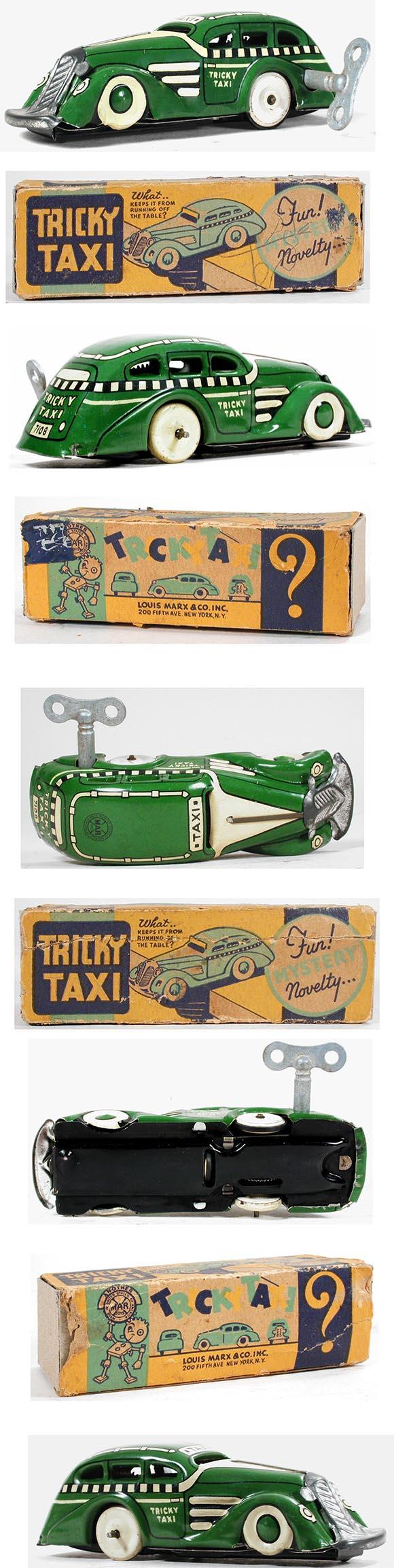 1948 Marx, Checkered Green Tricky Taxi in Original Box