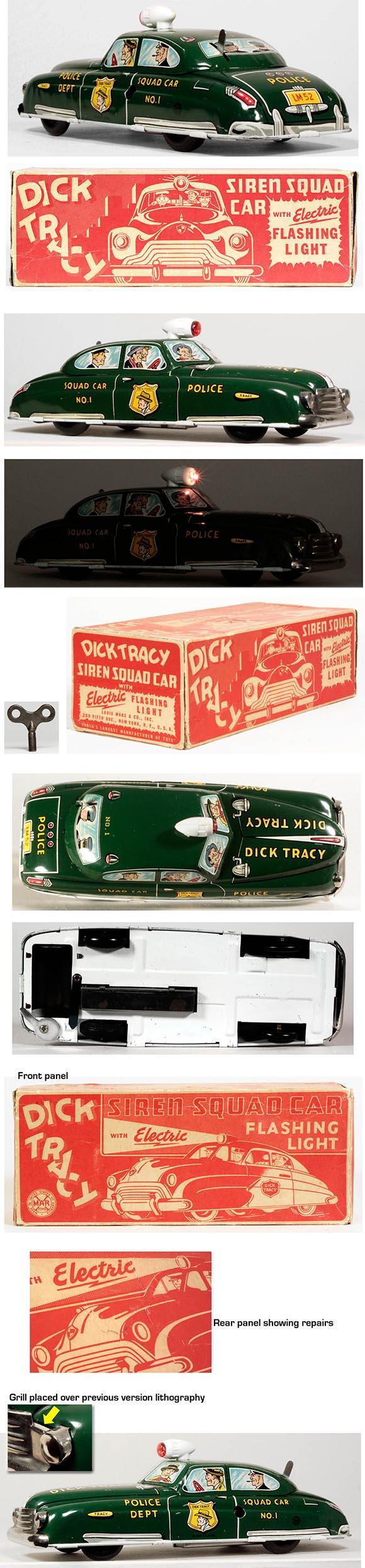1949 Marx Dick Tracy Siren Squad Car w/Light in Original Box