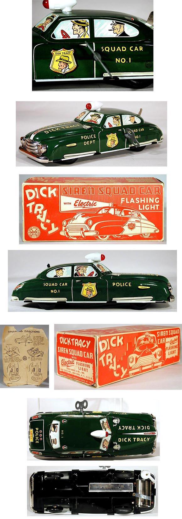 1949 Marx, Dick Tracy Siren Squad Car with Electric Flashing Light in Original Box #2