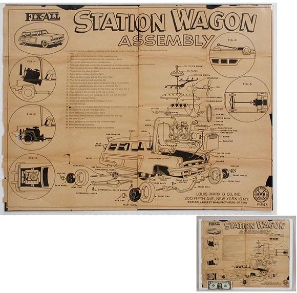c.1953 Marx, Original Assembly Instructions for Fix-All Station Wagon