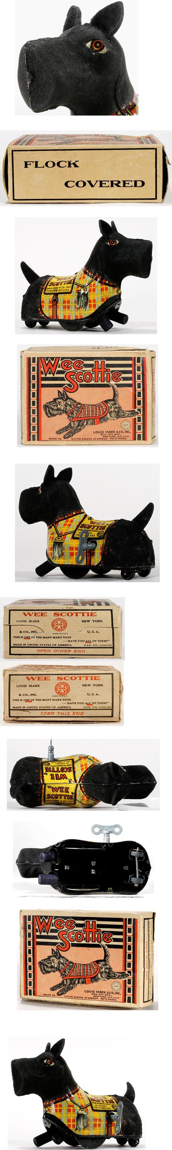 c.1938 Marx, Flock Covered Wee Scottie in Original Box