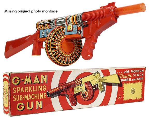 1951 Marx G-Man Sparkling Sub-Machine Gun in Original Box