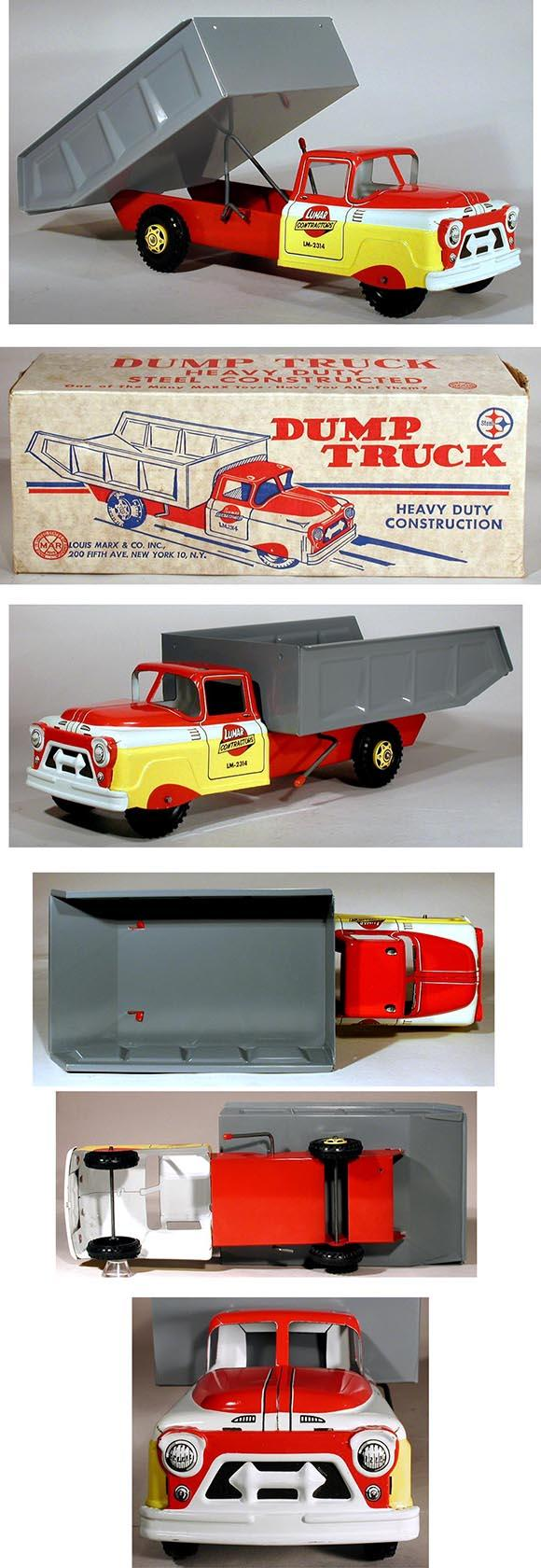 1964 Marx, Heavy Duty Lumar Contractors Dump Truck in Original Box