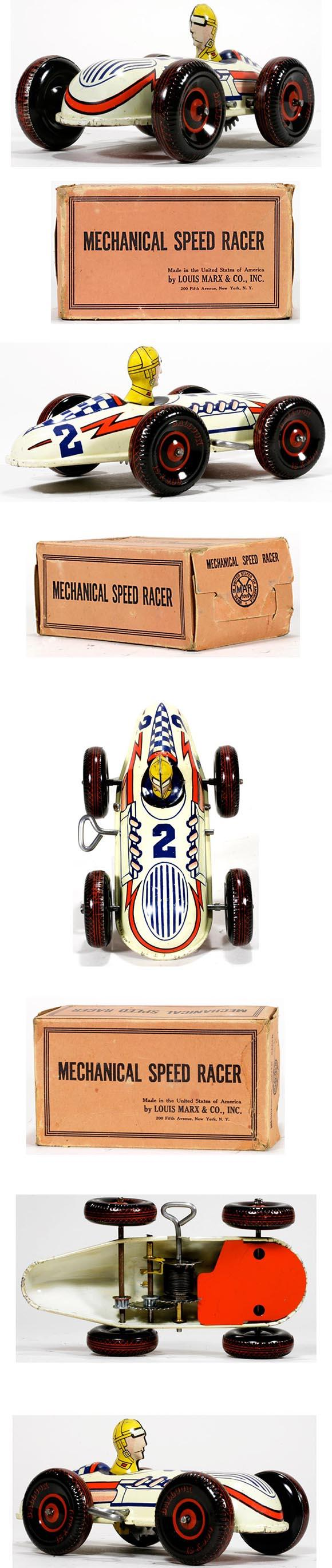 c.1950 Marx, No.2 Mechanical Speed Racer in Original Box