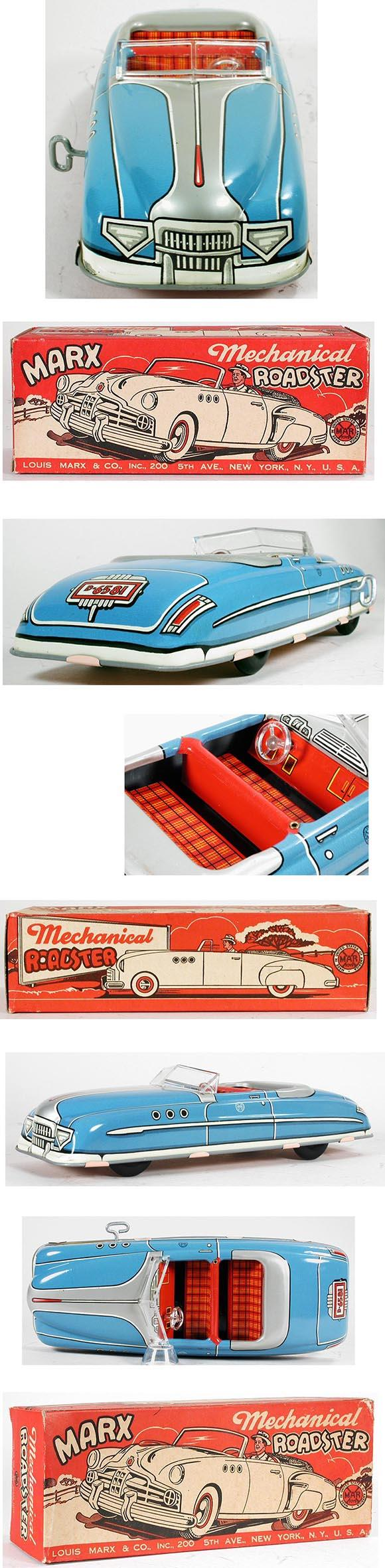 1949 Marx, Mechanical Roadster (Turquoise Blue) in Original Box