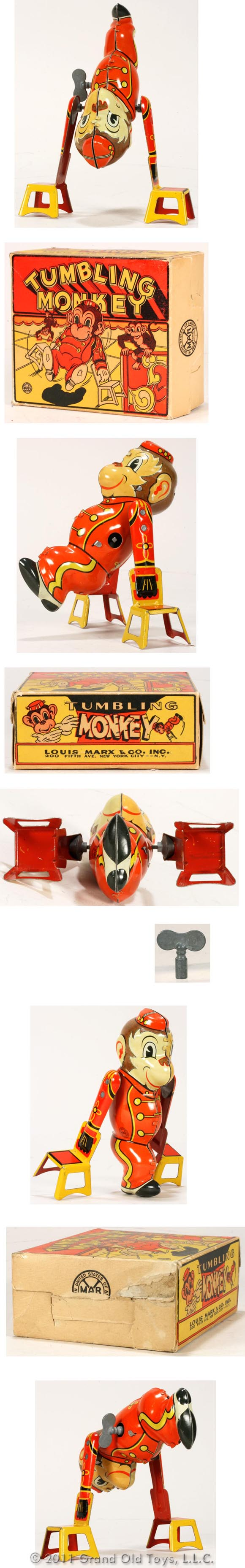 c.1942 Marx Tumbling Monkey In Original Box