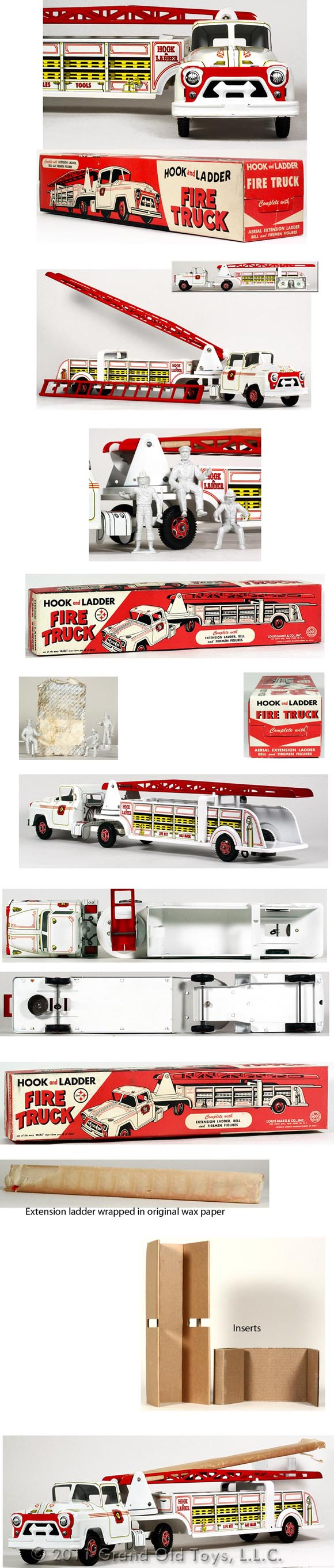 1959 Marx White Hook Ladder Fire Truck In Original Box