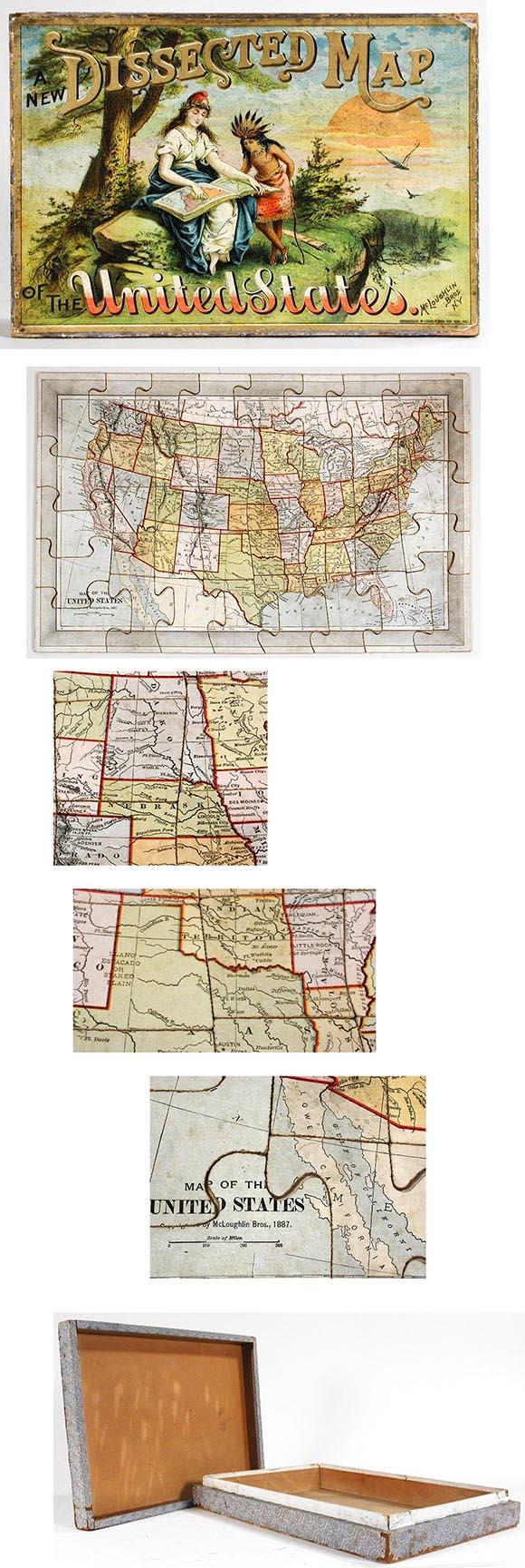 1887 McLoughlin Bros., New Dissected Map of the United States