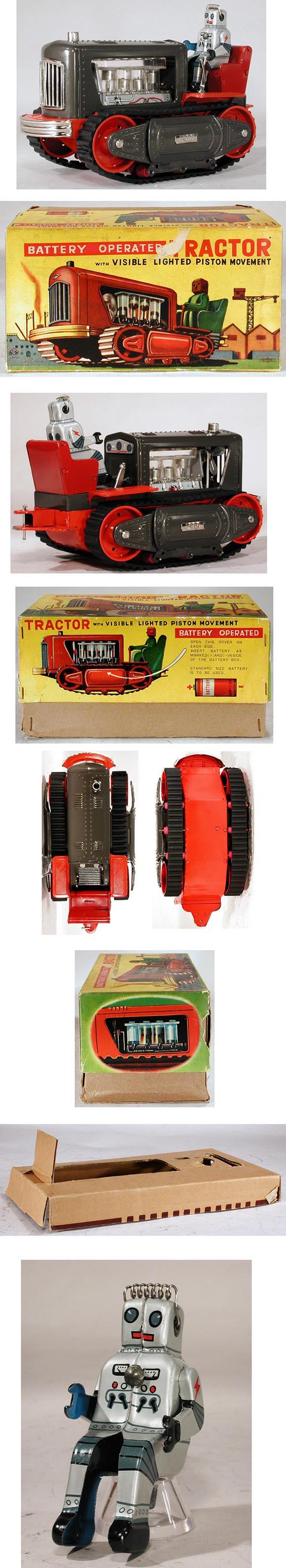c.1957 Nomura, Battery Operated (Robot) Tractor in Original Box