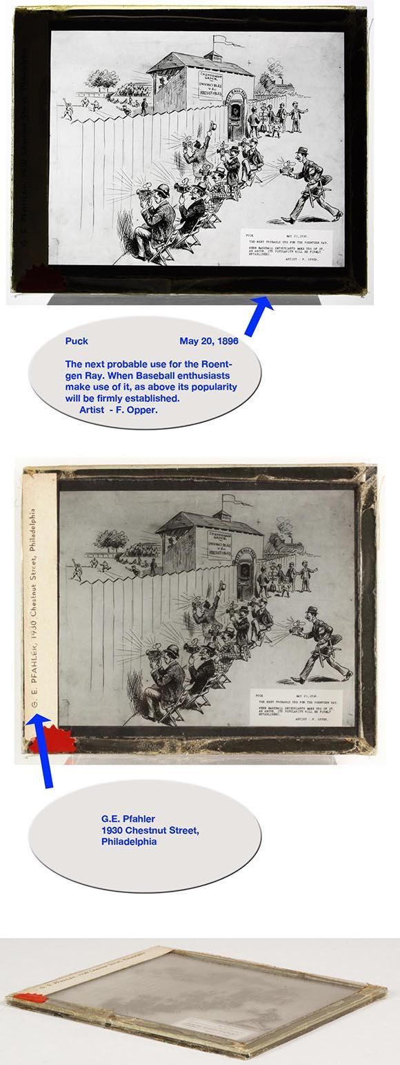 1896 Base Ball Magic Lantern Glass Slide from Puck Magazine