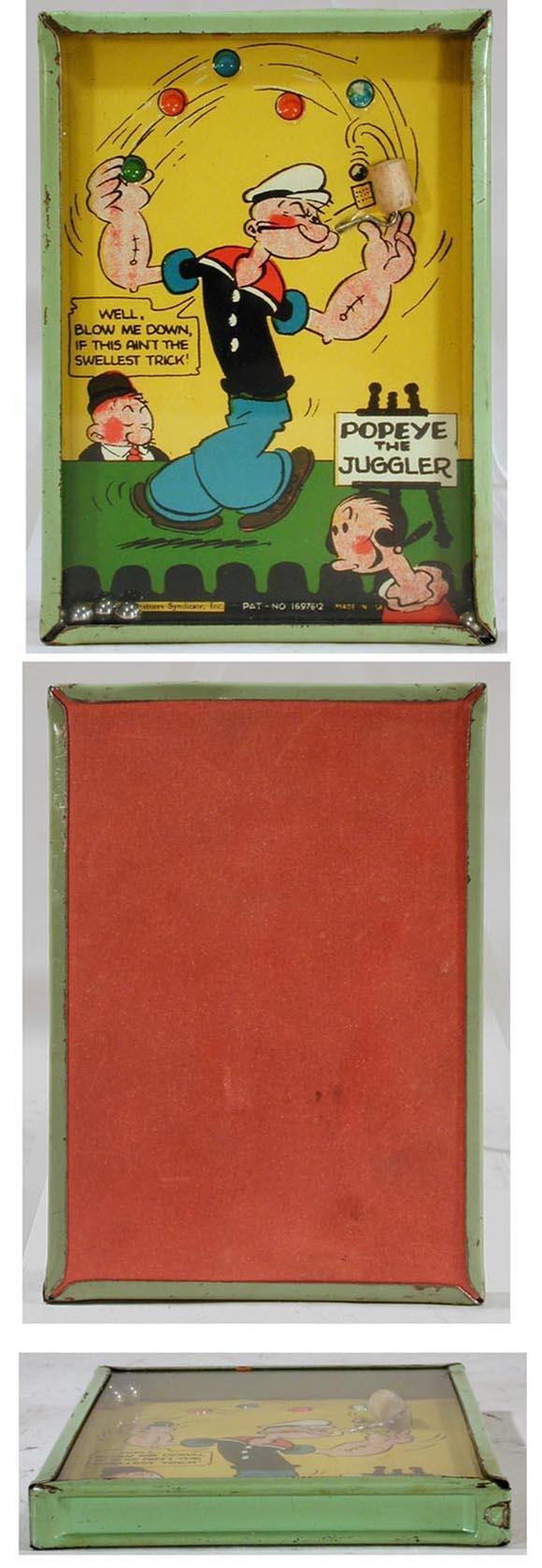 1929 Popeye the Juggler, Tin Litho Dexterity Toy