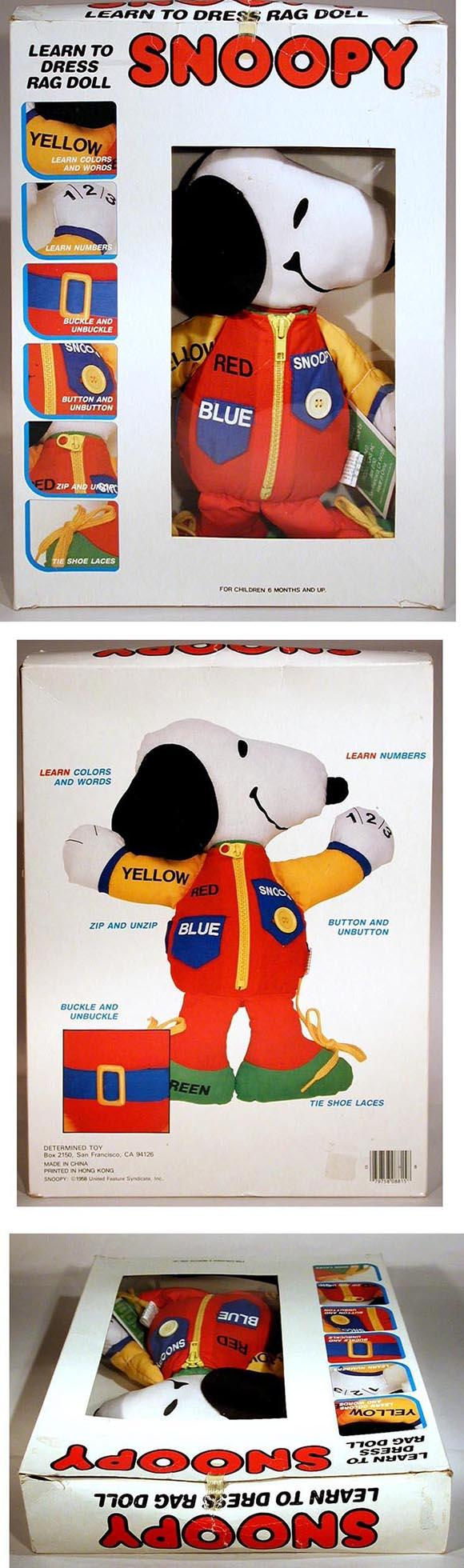 c.1980 Learn To Dress Snoopy Rag Doll in Original Box