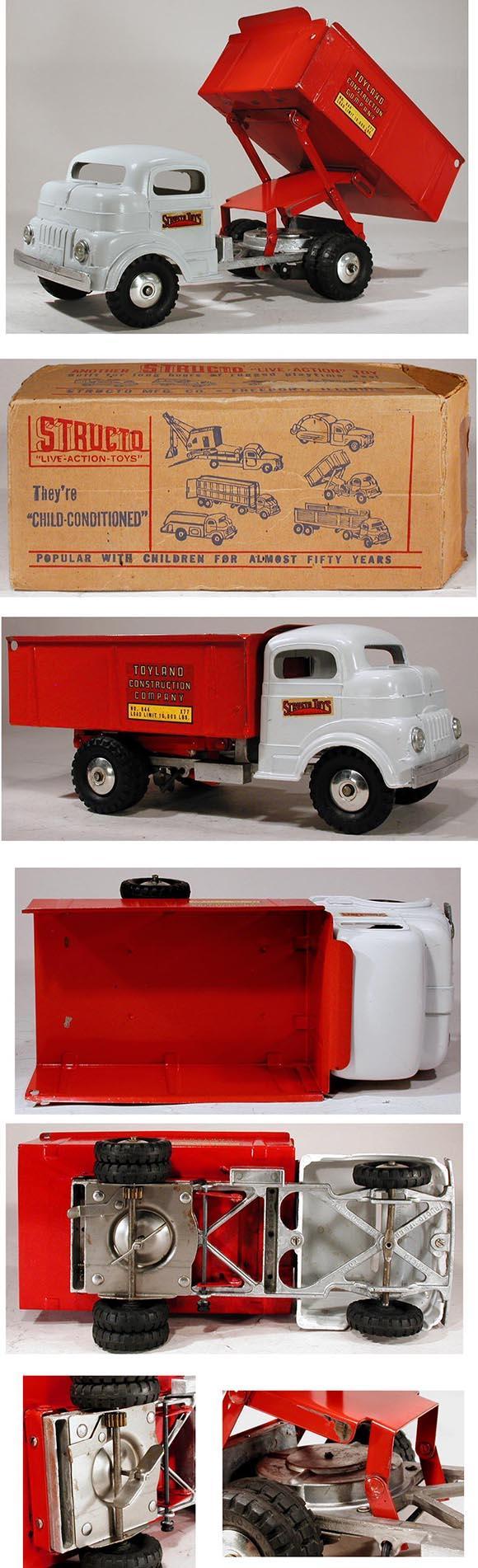 Details Toydb 1951 1952 Ford Dump Trucks Structo Hi Lift Toyland Truck Wind Up In Original Box