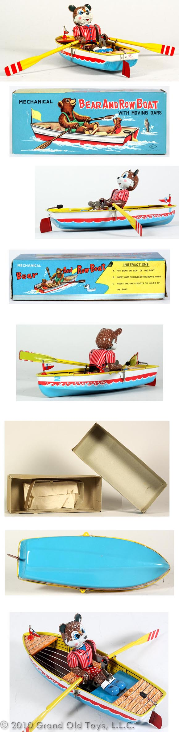 c.1958 Suzuki & Edwards, Bear Row Boat with Moving Oars In Original Box