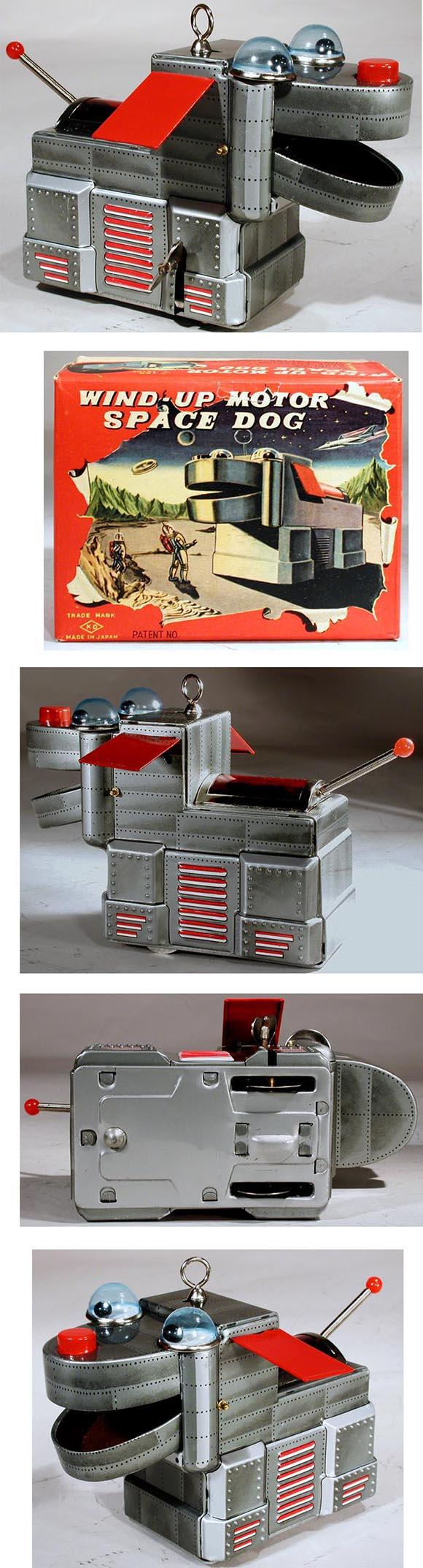 1956 Yoshiya, Wind-Up Motor Space Dog in Original Box