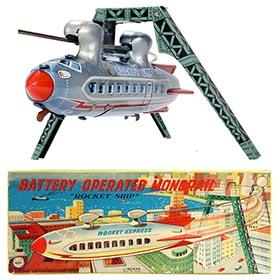 1958 Linemar, Battery Operated Monorail Rocket-Ship in Original Box