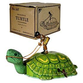 c.1939 Chein, No.145 Mechanical Turtle (Green) in Original Box