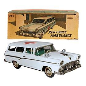 1956 Bandai, Ford Red Cross Ambulance in Original Box
