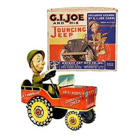 1946 Unique Art, G.I. Joe & His Jouncing Jeep in Original Box