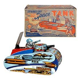c.1952 Marx, Rex Mars Sparkling Planet Patrol Space Tank in Original Box