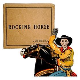 1942 Marx, Rocking Horse (Cowboy Rider) in Original Box