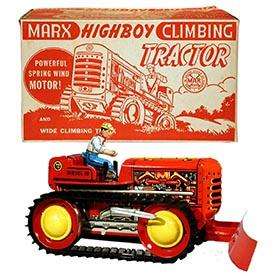 1942 Marx, Highboy Climbing Tractor with Scraper in Original Box