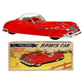 1956 Marx The Falcon Friction Powered Sports Car (Red) in Original Box