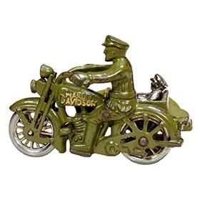 c.1933 Hubley, Cast Iron Harley Davidson Motorcycle Cop with Sidecar & Passenger