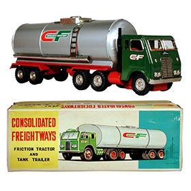 c.1960 Hayashi, Consolidated Freightways Tractor Truck & Tank Trailer in Original Box