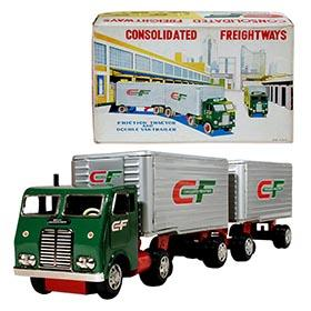 c.1960 Hayashi, Consolidated Freightways Double Van Tractor Trailer Truck in Original Box