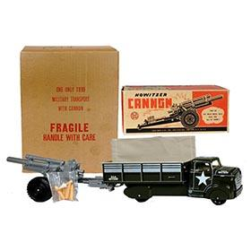 1955 Marx, #1899 Military Transport Truck with Howitzer Cannon Set in Original Box