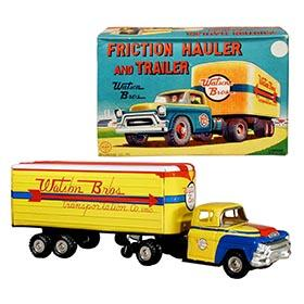 1953 Linemar, Watson Bros. Friction Hauler and Trailer in Original Box