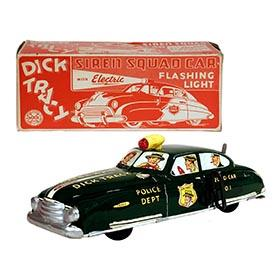 1949, Marx, Dick Tracy Siren Squad Car with Electric Flashing Light in Original Box