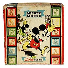 c.1937 Halsam, Mickey Mouse Safety Blocks in Original Box
